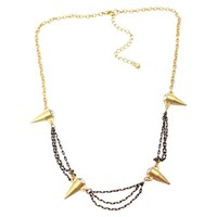 Gold and Bronze Scalloped Chain and Hematite Spike Necklace