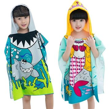 Mermaid Shark Pattern Beach Towel for Boys Girls Children Hooded Bath Towel Baby Towel Cartoon Print Soft Towel for Kids