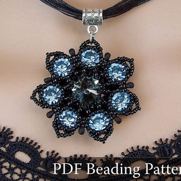 Drow Queen Flower Pendant Beading pattern, Seven-Colored Flower Beading tutorial, Swarovski Rivoli and Chaton pendant beading pattern, PDF
