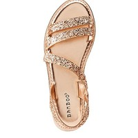 Bamboo Glitter Strap Flat Sandals | Charlotte Russe
