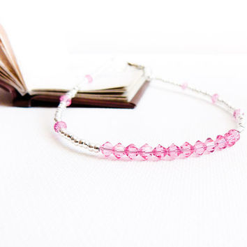 Bridal pink rose silver ankle bracelet. Wedding  foot jewelry .