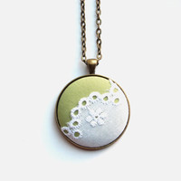 Lime Green Necklace, White Floral Lace, Pretty Fabric Button Pendant, Spring Fashion, Boho Chic, Asymmetrical Necklace