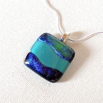Fused Glass Jewelry Pendant Necklace -  Blue Green Dichroic Glass with Teal Center