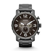Fossil Nate Chronograph Stainless Steel Watch in Gunmetal JR1437