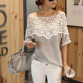Ladies Hollow Out Handcrafts Scarf Batwing Sleeve T-shirts [11405219343]