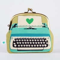 VACATION - Big Pop up - Typewriters in blue - double metal frame purse