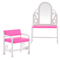 NK One Set Kid's Play Toys Plastic Dresser & Chair Set Dollhouse Furniture Doll Accessories For Barbie Dolls Dresing Table
