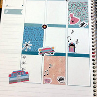 58 kiss cut and ready to peel off 1960's Theme Stickers! Perfect for your Erin Condren Life Planner, Filofax, Kikkik, Plum Paper
