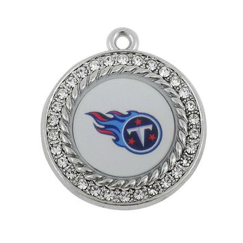 Good Quality Rhinestone Metal Football Sports Team Tennessee Titans Charms Pendant For DIY Bracelet & Necklace Jewelry 10pcs/lot
