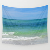 Blue Green Sea - Wall Tapestry, Coastal Ocean Water Beach Surf Loft Bungalow Home Interior Hanging. Available in 51x60 / 68x80 / 88x104 in.