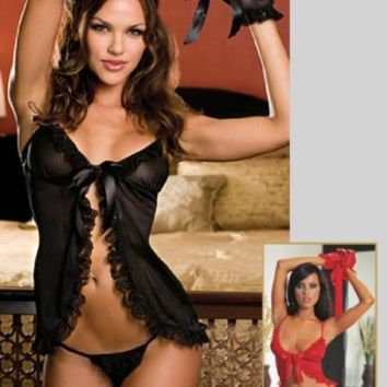 Sexy Babydoll Lingerie Set - Intimate Apparel Sleepwear with Crotchless Thong