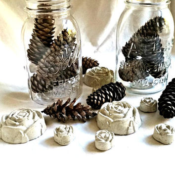 Concrete Roses, Unique Table Decor, Place Card Holder, Gifts of Love, set of six (6)