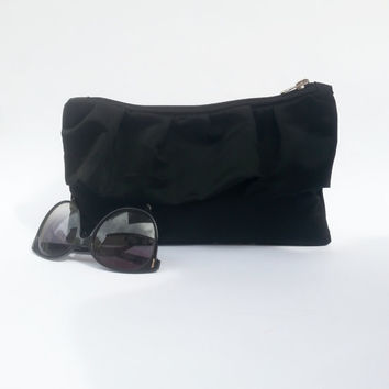 Black clutch, evening and elegant clutch, bridesmaids gift idea, CUSTOM ORDER, duchesse fabric, bag with ruffles