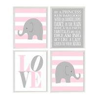 Elephant Stripes Baby Girl Nursery Prints and Gray Pink Wall Art Love