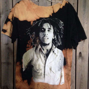 Bleached, tie dyed  Bob Marley size Large shirt