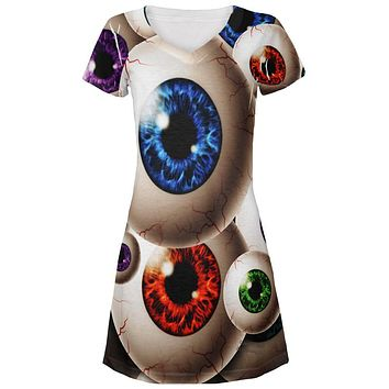 Creepy Watcher Eyeballs Juniors V-Neck Beach Cover-Up Dress