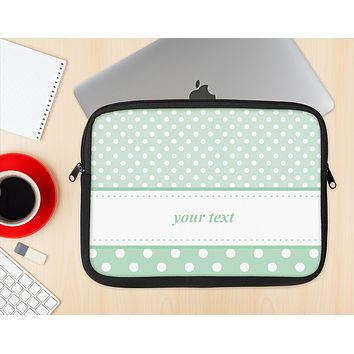 The Vintage Light Green Polka Dot With White Strip Ink-Fuzed NeoPrene MacBook Laptop Sleeve