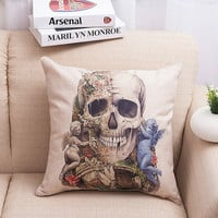 Simple Design Strong Character Skull Cotton Linen Soft Cushion [6046359745]