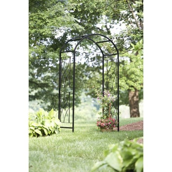 Shop Garden Treasures 51.85-in W x 90-in H Black Curved Garden Arbor at Lowes.com