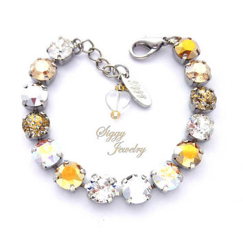 Swarovski Crystal Tennis Bracelet, 8mm Silver And Gold, Optional Flower Accents, Assorted Finishes,  Bright and Beautiful, Free Shipping