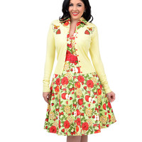 Voodoo Vixen Yellow & Red Strawberries & Butterflies Embroidered Button Up Cardigan