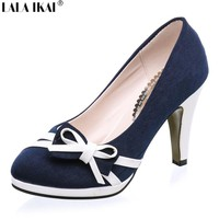 2017 Women Pumps with Sweet Bowtie OL 10 cm High Heels Single Shoes Woman Sapatos Femininos Spring Dress Shoes A117-5