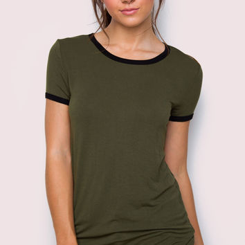 Carina Basic Top - Olive