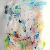 "Mixed Media Expressionist Abstract Painting on Paper ""Where the Birds Go to Land"""