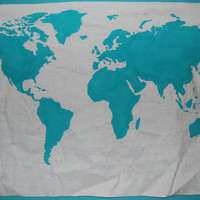 World Map Wall Tapestry in Teal