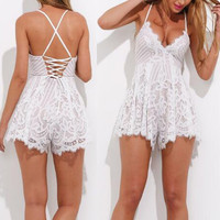 Scalloped Lace Straps Sexy Romper Jumpsuit
