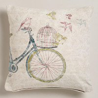 Bike with Birdcage Recycled Tarp Throw Pillow