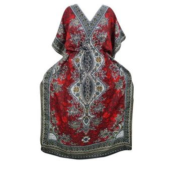 Mogul Women's Maxi Dress Red Dashiki Print Beach Cover Up Evening Dresses XXL - Walmart.com