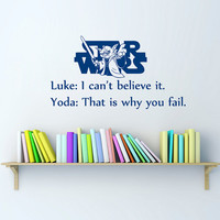 Star Wars Quote Wall Decals Quotes - Wall Vinyl Decal Stars - Wall Home Decor - Housewares Art Wall Vinyl Quote Decal L548