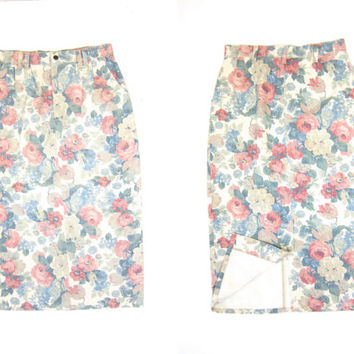 Vintage 80s FLORAL Jean Skirt 1980s Denim Midi Skirt High Waist Preppy Pastel Flower Print Jean Skirt Revival Boho Large Waist 30 Inches