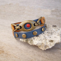 Blue leather wrap bracelet, studded leather cuff, brass buckle bracelet