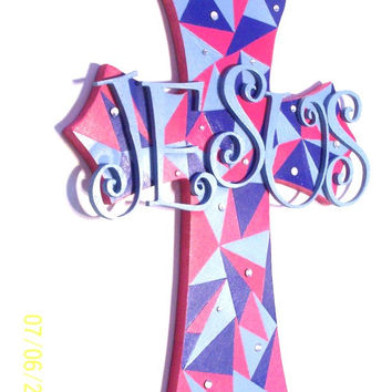 Christian Cross - Wall Art - Decorative Cross -  Cross of Jesus - Christian Decor - Colorful Cross - Wall hanging