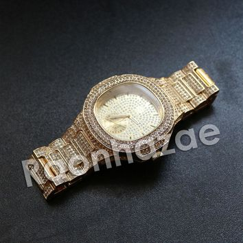 """Iced Out Hip Hop """"Crunch Time"""" Gold Nugget Watch"""