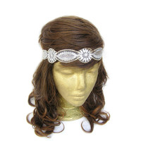 White Lace Headband with Silver Sequins // 1920s Flapper Headpiece // Art Deco Headpiece // Great Gatsby Party // Headband
