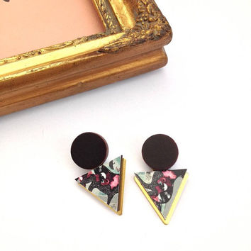 Statement Triangle & Circle Geometric Earrings / Studs - Blue Deer Patterned Laser Cut Wood Geometric Jewellery Triangle Jewellery