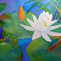 "Water Lily Watercolor Painting Archival Print 8"" X 10"" 