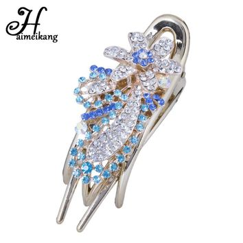 Haimeikang 1PC Hairpin Claws Alloy Rhinestone Flower Hair Clips Hair Ornament Bride Elegant Wedding Hair Pins Hair Accessories