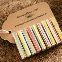 Clothespin Magnet Clips - Set of 9 country mini clips