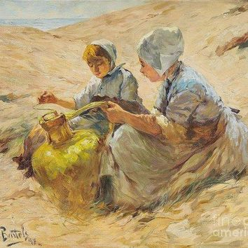 Two Girls In The Sand Dunes - Art Print