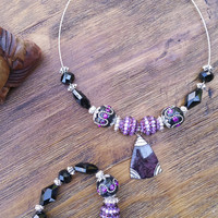 Glam Collection - One of a kind Purple Precious Stone Set Both Items