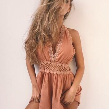 Womens Stunning Deep V Backless Romper