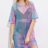 """free spirit"" sheer rainbow retro tshirt dress"