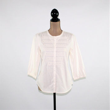 Cream White Cotton Blouse Women Small Button Up Embroidered Shirt 3/4 Sleeve Top Beaded Tunic Top Casual Size 0 Chicos Womens Clothing