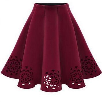 High Waist Woolen Skirt Knee Length Fall Winter Black Gray Wine Red Female Skirts Bottoms kilt Jupe faldas largas saia longa