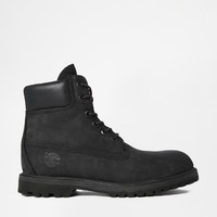 "Timberland 6"" Premium Black Lace Up Flat Boots"
