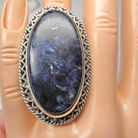 Vintage Sugilite Ring Statement Sterling Silver Sz 7 HUGE
